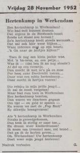 Het Nieuwsblad voor Gorinchem en omstreken publiceerde in 1952 een gedichtje over de komst van het hertenkamp in Werkendam.