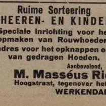 hoedenzaak masseus ridderhof 1918