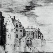 Een van de tekeningen van de Burcht van Werkendam.
