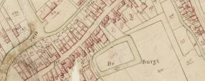 Een gedeelte uit de kadastrale kaart van 1832, waarop onder andere de oude slotgracht nog te zien is.